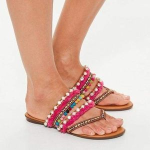 Tan Multi Embroidered Strap Toe Post Sandals